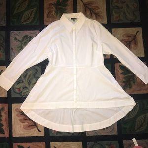 Lane Bryant white button down hi-low tunic